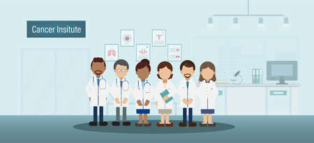 Cancer institute interior with group of doctors flat design vector illustration Ilustracja