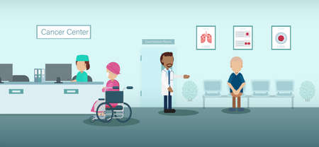Cancer clinic with doctor and patients flat design vector illustration
