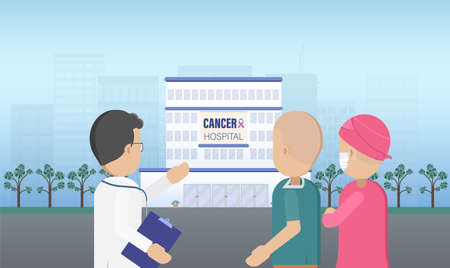 Cancer hospital with doctor and patients flat design vector illustration