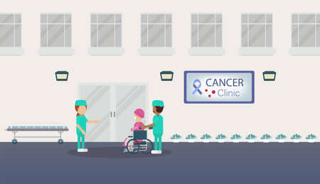Cancer clinic with medical staff flat design vector illustration