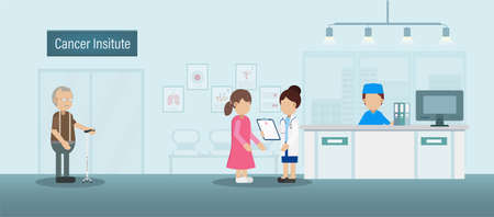 Cancer institute with doctor and patients flat design vector illustration Ilustracja