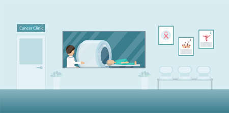 Cancer clinic interior with doctor and patient in ct scan machine flat design vector illustration Ilustracja