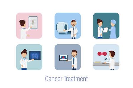 Cancer treatment avatars flat design vector illustration