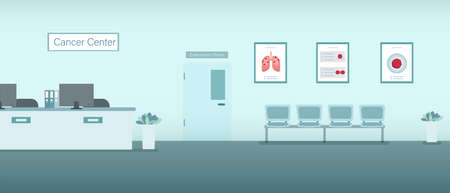 Cancer center interior with counter and waiting area flat design vector illustration