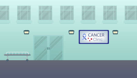 Cancer clinic building or exterior flat design vector illustration