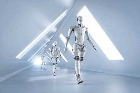Technology improvement concept with 3d rendering group of cyborgs walking