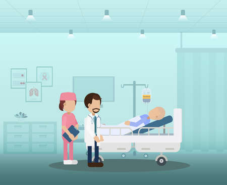 Chemotherapy room with patient and medical staff flat design vector illustration Ilustracja
