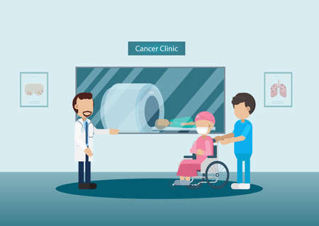 Cancer clinic with doctor and patient in ct scan machine flat design vector illustration