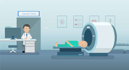 Doctor with cancer patient and ct scanner flat design vector illustration