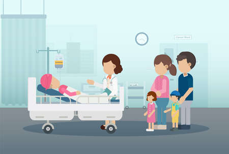 Chemotherapy room with patient and family flat design vector illustration Ilustracja