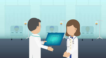 Chemotherapy room with group of patients flat design vector illustration Ilustracja