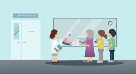 Chemotherapy room with group of patients flat design vector illustration