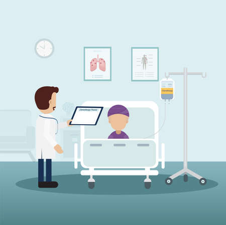 Chemotherapy room with patient and doctor flat design vector illustration
