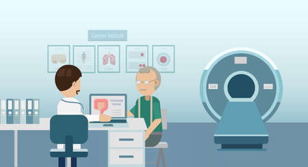 Doctor with colorectal cancer patient and ct scanner flat design vector illustration