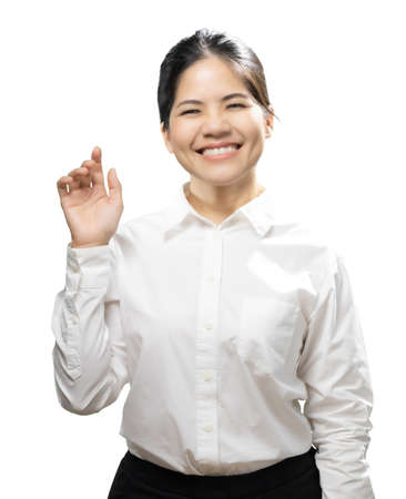 Asian woman finger point wear white shirt isolated on white background
