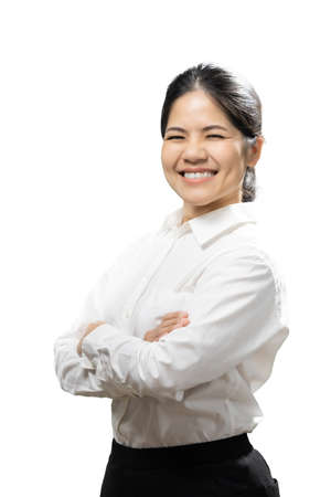 Asian woman wear white shirt arm crossed isolated on white background Zdjęcie Seryjne