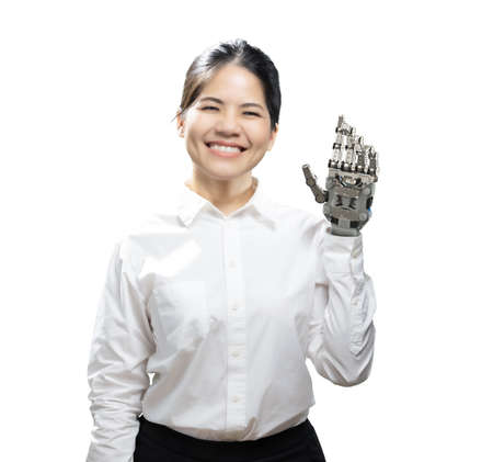 Asian woman with metal prosthetic hand isolated on white