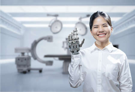 Asian woman with metal prosthetic hand