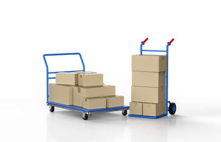 3d rendering hand truck with parcel boxes on white background 版權商用圖片