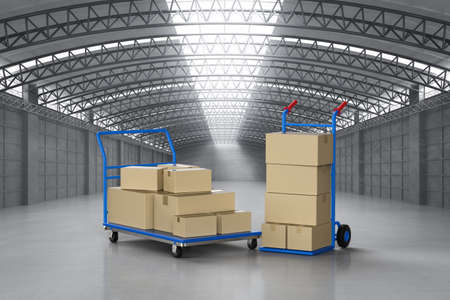 3d rendering hand truck with parcel boxes in factory