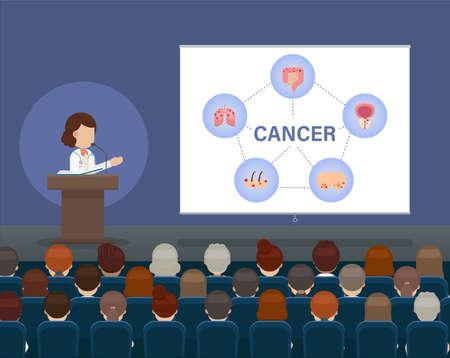 Medical conference concept with doctor speak on stage illustration Ilustracja