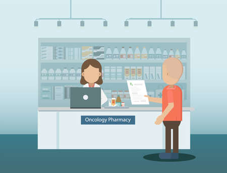 Pharmacy with pharmacist and cancer patient illustration