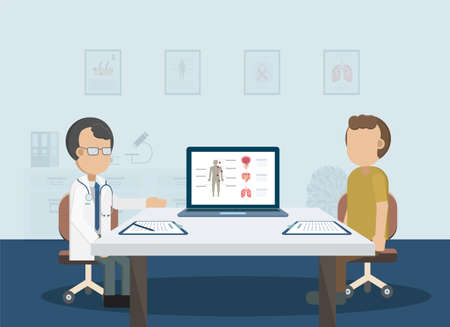 Male cancer check with doctor and patient illustration