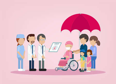 Cancer insurance concept with patient and doctor  illustration