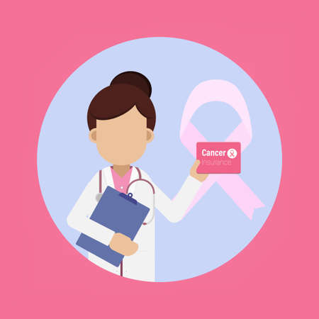 Cancer insurance concept with doctor hold insurance card illustration Ilustracja