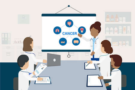 Doctor conference concept with group of doctors discuss about cancer illustration Vettoriali