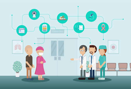 Doctor with cancer patient and icons flat design vector illustration