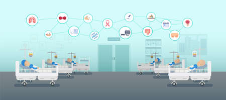 Chemotherapy room with group of patients and icons flat design vector illustration