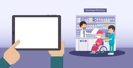 Blank screen tablet with cancer pharmacy flat design vector illustration Ilustracja