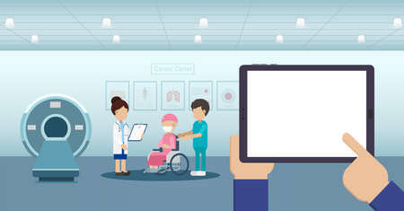 Blank screen tablet in cancer clinic with cancer patient and ct scanner flat design vector illustration Ilustracja