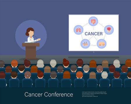 Cancer conference banner with doctor speak on stage flat design vector illustration