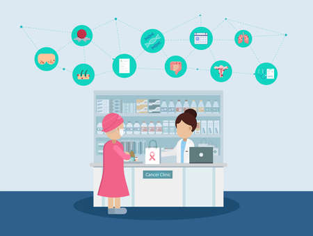 Pharmacy with cancer patient and icons flat design vector illustration