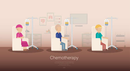 Chemotherapy room banner with group of patients flat design vector illustration