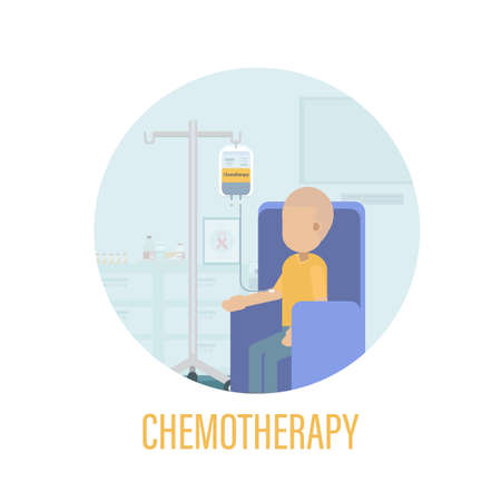 Chemotherapy room with cancer patient flat design vector illustration