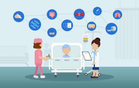Chemotherapy room with patient and icons flat design vector illustration
