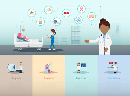 Cancer clinic infographic with doctor and patient flat design vector illustration Ilustracja