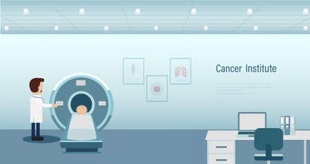 Cancer institute banner with cancer patient and ct scanner flat design vector illustration Ilustracja