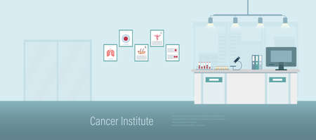 Cancer institute banner with counter and waiting area flat design vector illustration