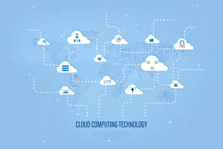 Cloud computing technology with icons on circuit world map vector illustration