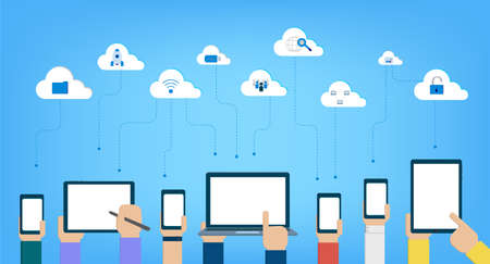 Cloud computing technology with icons and devices on blue background vector illustration