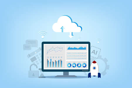 Cloud computing technology with cloud icons and digital device vector illustration Ilustracja