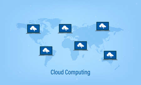 Cloud computing technology with icons on world map vector illustration