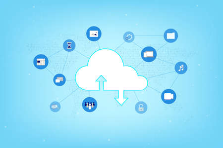 Cloud computing technology with icons on binary world map vector illustration