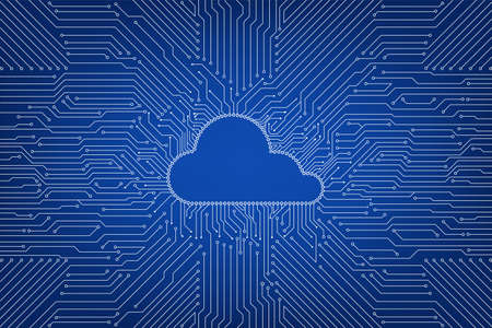 Cloud computing technology with circuit cloud on blue background vector illustration