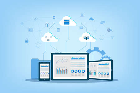 Cloud computing technology with icons on digital device vector illustration