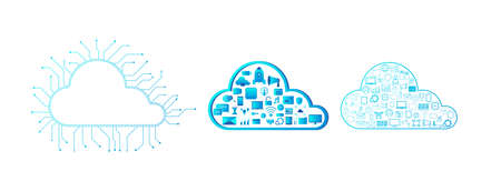 Cloud computing technology with cloud and icons vector illustration